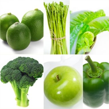 Fruits and vegetables may reduce stress in women. We need to eat more like the limes, asparagus, lettuce, broccoli, apple and pepper in this photo.